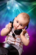 Cute child, baby dj in disco, dance, music, sound