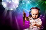 Fototapety Cute baby dj in disco