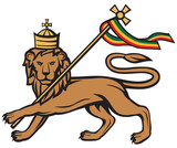 lion of judah with a rastafari flag