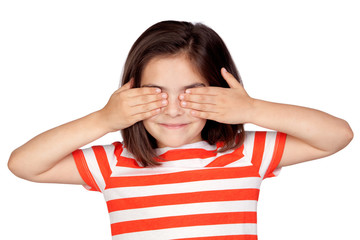 Brunette little girl covering the eyes