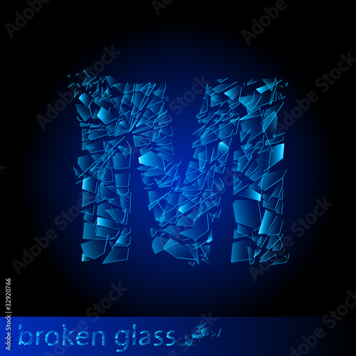 One letter of broken glass - M