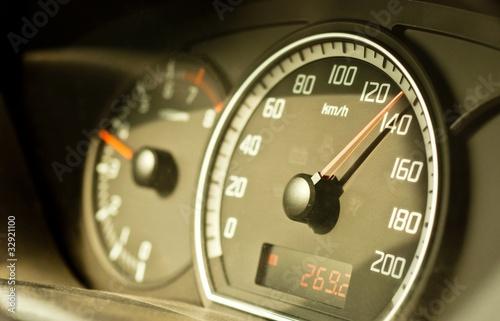 Closeup of a speed meter of a car