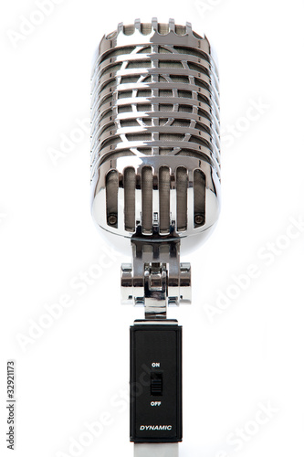 Retro Microphone against white