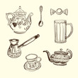Kitchen devices. Coffee teapot cup spoon sweet