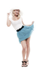 Naughty blonde in white panama and blue skirt
