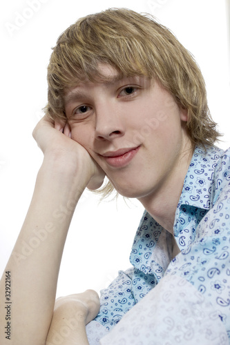 Portrait of young fair-haired boy by jura, Royalty free stock ...