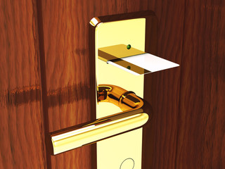 Hotel card lock and keycard , 3d illustration