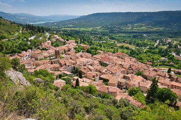 view of ancient village moustiers, france