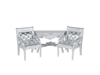 silver leather  upholstery chairs