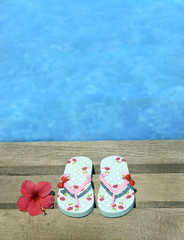Sandals on a wooden floor