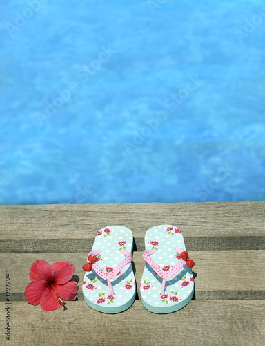 Sandals on a wooden floor