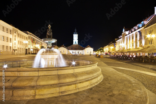 Bialystok with fountain at night, Poland