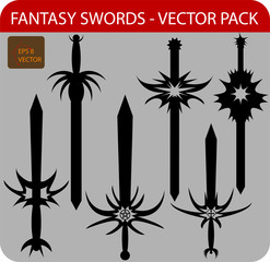 Vector pack of six fantasy swords