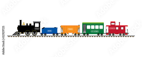 canvas print picture Spanish number train