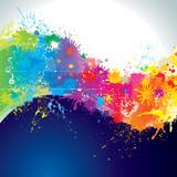 Splatter paints of wave shape.