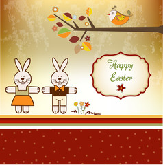 Easter Background with rabbits
