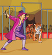 Side view of ringmaster with tigers in circus