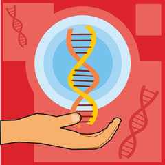 Closeup of a hand holding dna