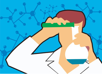 Front view of a scientist pouring liquid into flask