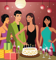 Friends celebrating birthday party