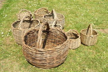 hand made wicker baskets collection on grass