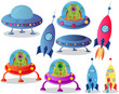 spaceships on a white background