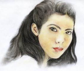 Hand Drawing Asian Girl