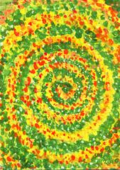 Желто-зеленая спираль, картина, фон