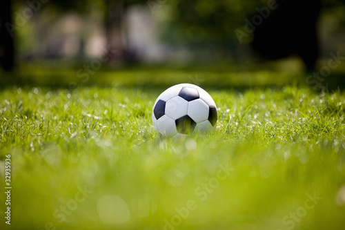 A football on grass