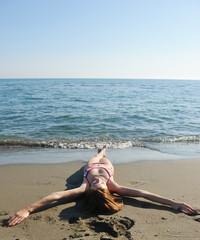 young woman relax  on beach