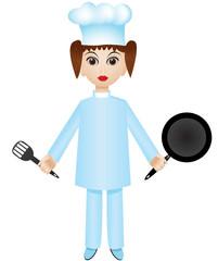 Chef girl with pan and turner