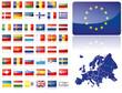 Europa Flaggen Fahnen Set Buttons Icons Sprachen 7