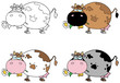 Cartoon Character Cows Different Color Set