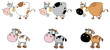 Cartoon Cows Different Color Set
