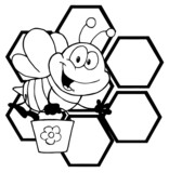 Outlined Bee Cartoon Character In Front Of A Orange Bee Hives