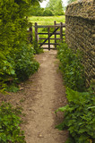 Country path with a gate at the end