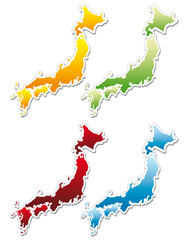 stickers in form of Japan