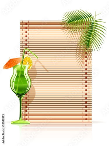 bamboo mat palm cocktail