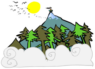 Cartoon mountain landscape.