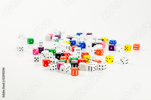 colored dice on white