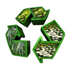 Recycling Logo mit Blumen