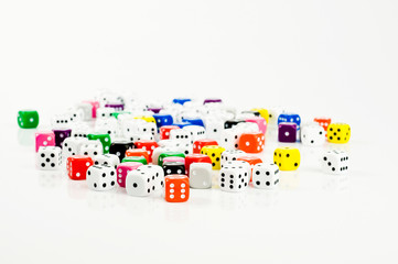 lots of dice on white