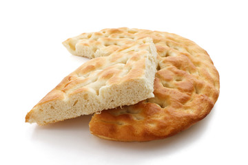 Focaccia sliced, typical Italian bread