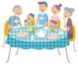 三世代家族のくつろぎ時間