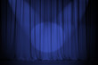 theatre blue curtain with two lights cross