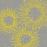 Fototapety Abstract background with stylized  sunflowers