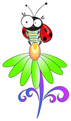 Ladybug and flower. Vector illustration.