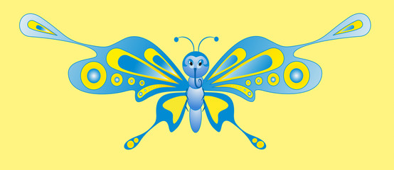 cartoon insect - color butterfly