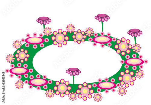 Vector illustration. Flower and banner.