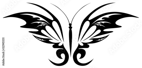 Vector illustration. Tattoo black butterfly